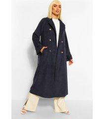 nepwollen trench coat met ceintuur, navy