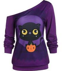 long sleeve animal print tunic sweatshirt