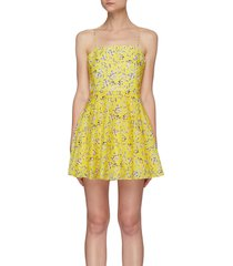 'glinda' spaghetti strap floral print cotton silk blend mini dress