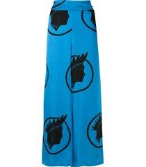 amir slama silk índio wide leg trousers - blue
