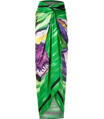 amir slama pintura verde oversized beach skirt - green