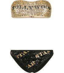 moschino hollywood star sequinned bikini set - gold