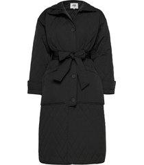 unni coat gevoerde lange jas zwart twist & tango