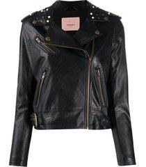 twin-set jaqueta biker com tachas - preto