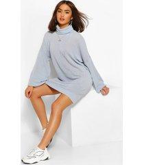 baggy sweatshirt jurk met col, stoffig blauw