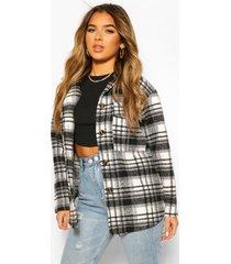 petite flannel wool look longline shirt jacket, black