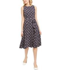 kasper polka-dot tie-waist a-line midi dress