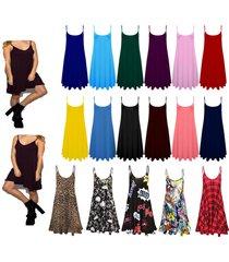 womens printed cami ladies summer swing mini dress long top plus size vest 8-26