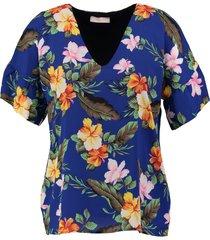 signe nature kobaltblauw gevoerd laagjes shirt met top eronder