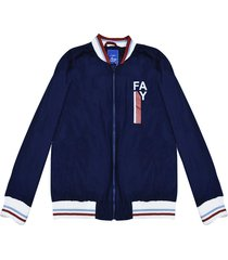 fay blue teen lightweight jacket with white details