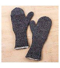 100% alpaca mittens, 'grey skies' (peru)