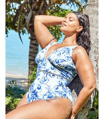 toulouse mindful curve non-wired plunge ladder tummy control one-piece swimsuit