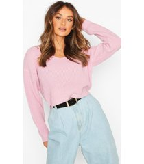 cropped fisherman v neck sweater, pastel pink