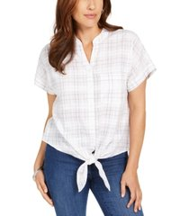 charter club petite textured tie-front shirt, created for macy's