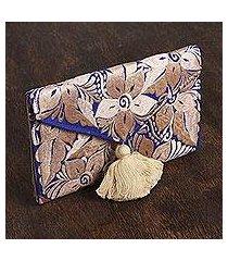satin clutch purse, 'buff bouquet' (mexico)
