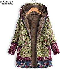 zanzea mujeres invierno cálido zip up sudaderas con capucha abrigo largo chaqueta outwear parka plus -verde