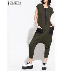 zanzea s-5xl de las mujeres de manga corta remiendo catsuit tops gota de la entrepierna del mono del mameluco plus -ejercito verde