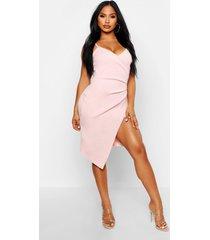strappy wrap pleated bodycon midi dress, peach