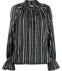 derek lam 10 crosby calypso diamond striped blouse - black