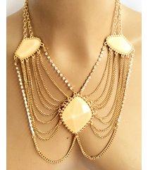 collar wow!  dorado/palo de rosa