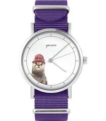 zegarek - wydra - fiolet, nylonowy