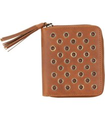 hadaki genuine leather square grommet wallet
