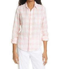 women's frank & eileen barry check linen button-up shirt, size x-large - pink