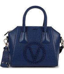 minimi rock deep logo rockstud-embellished leather satchel