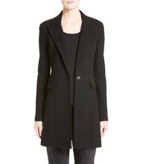 women's st. john collection micro boucle knit blazer, size 12 - black