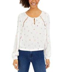 hippie rose juniors' crochet-inset floral-print top