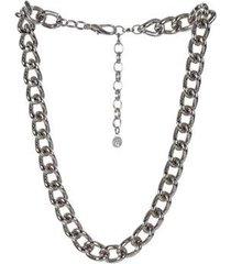 colar armazem rr bijoux curto correntes prata - feminino