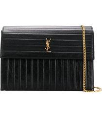 saint laurent victoire quilted leather crossbody bag - black