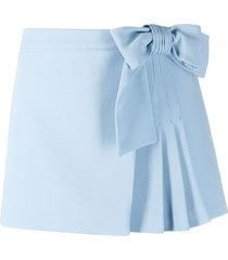 red valentino bow-detail pleated skort - blue