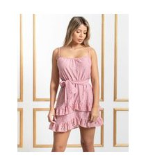 vestido miss misses renda com babadinho rosa