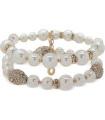 anne klein gold-tone imitation pearl two row bracelet