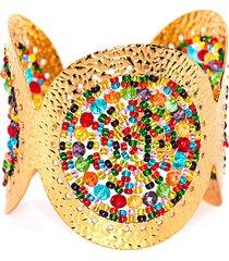 brazalete imperial baño oro tejid multicolor bijulovers