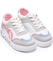 tenis mujer gris azul y rosa color blanco, talla 36