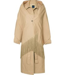 sjyp shawl detailed trench coat - brown