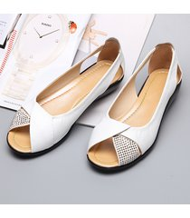 casual scarpe basse respirabili a punta aperta con strass
