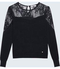 motivi maglia con carré in pizzo donna nero