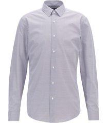 boss men's isko slim-fit two-colored geometric-print cotton shirt