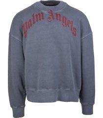 palm angels man navy blue and red vintage sweatshirt