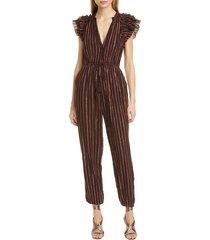 women's ulla johnson elio metallic stripe jumpsuit, size 12 - brown
