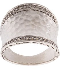 john hardy classic chain hammered saddle diamond ring - silver