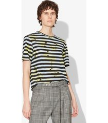proenza schouler striped splatter floral short sleeve t-shirt faded blue splatter floral xs