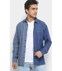 camisa jeans forum smart masculina