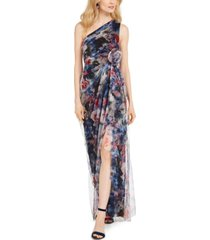 adrianna papell one-shoulder printed chiffon gown