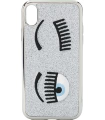 chiara ferragni flirting embroidered iphone xr case - silver