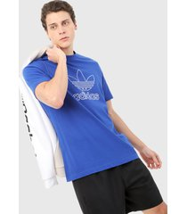 camiseta azul royal-blanco adidas originals logo triofilo
