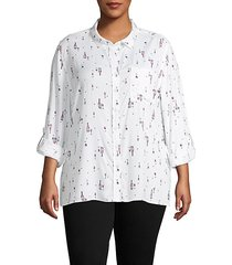 plus printed wool blend shirt